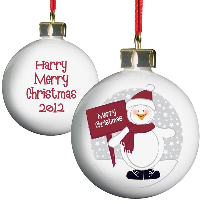 Personalised Penguin Christmas Bauble