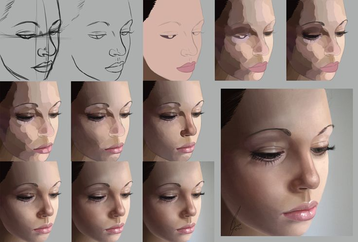 Digital Painting Photoshop Process Technique Realistic Portrait Skin Tones and Blending