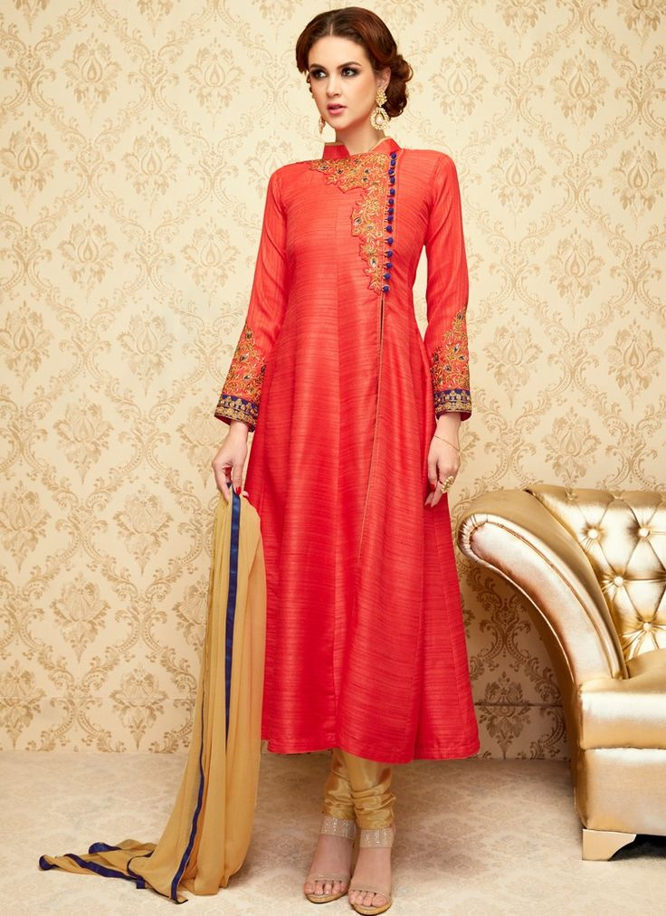 Coral and Gold Embroidered Churidar Suit
