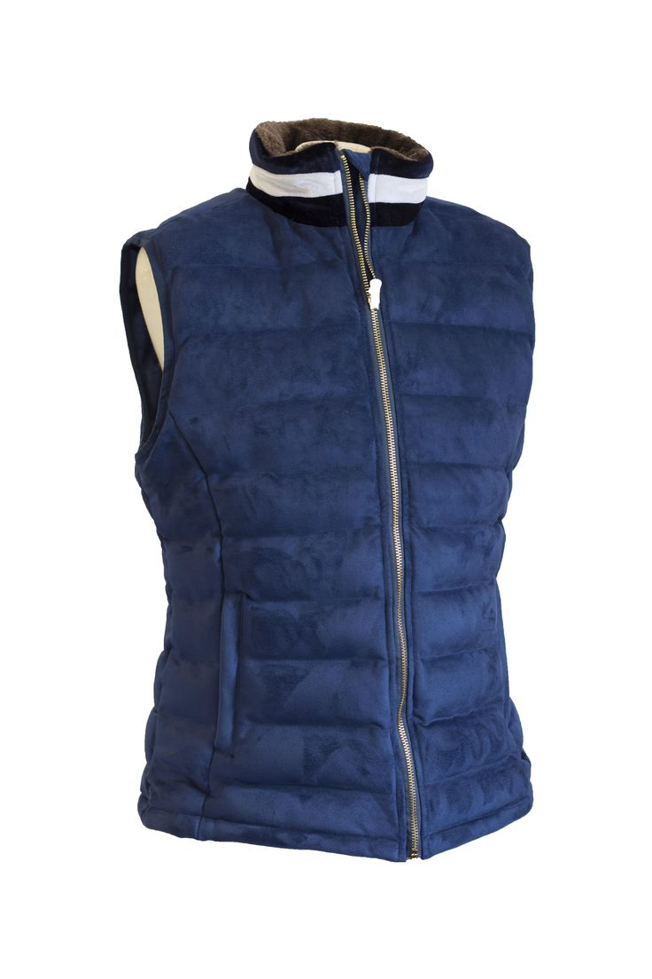 Sporting Hares Windermere Gilet in Navy Blue | DWR membrane | Water resistant | Gorgeous colours | Velvet collar  | Faux Fur collar lining | Taffeta Silk lining | Perfect for horse riding, countrywear and walking the dog! | Lofty Equestrian | ONLY £85.00