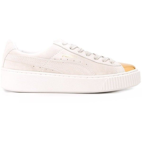 Puma 'Platform Gold Toe' sneakers ($105) ❤ liked on Polyvore featuring shoes, sneakers, white, puma shoes, platform trainers, platform sneakers, white platform trainers and white sneakers