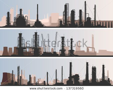 Vector abstract horizontal banner: industrial part of city with factories, refineries and power plants. by Vertyr, via Shutterstock
