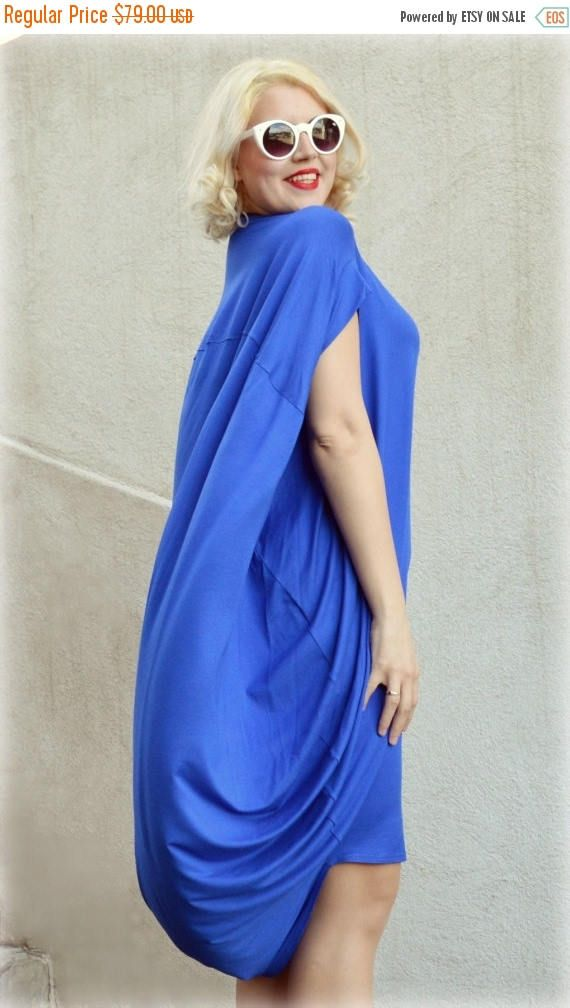 SUN SALE 25% OFF Royal Blue Maxi Dress / Extravagant Loose Dress / Royal Blue Casual Dress / Short Sleeved Maxi Dress Tdk167 / Spring 2016