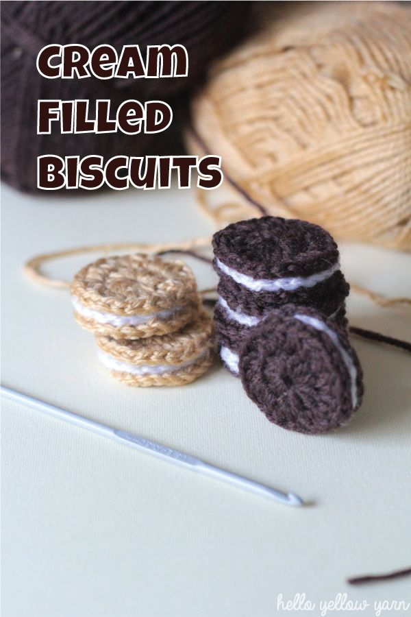 Hi everyone! I have an easy, quick and fun crochet tutorial for you today! These cream filled biscuits look great and they make great play food toys for kids. You can also add magnets to the back a...