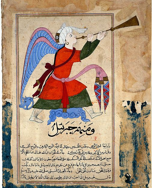 The Archangel Israfil. Made in Egypt or Syria, late 14th–early 15th century. Opaque watercolor and ink on paper. Courtesy of the Trustees of the British Museum