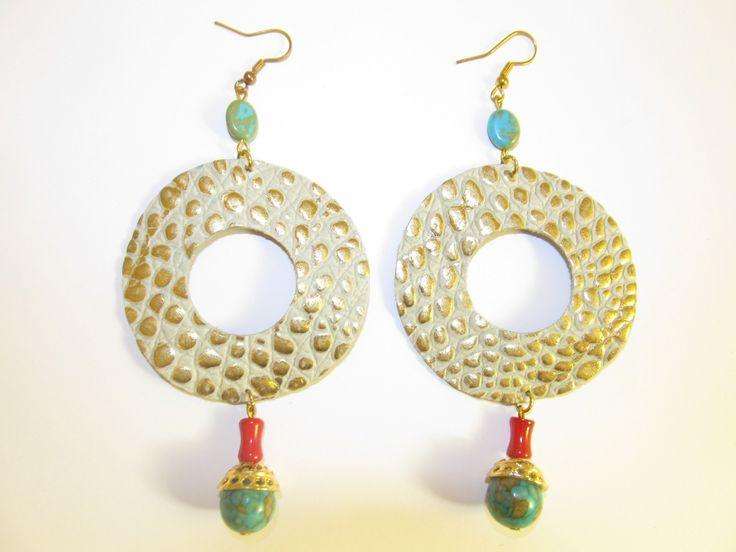 Handmade leather earrings (1 pair)  Made with embossed beige/gold leather, semiprecious stones and gold metal filigree.
