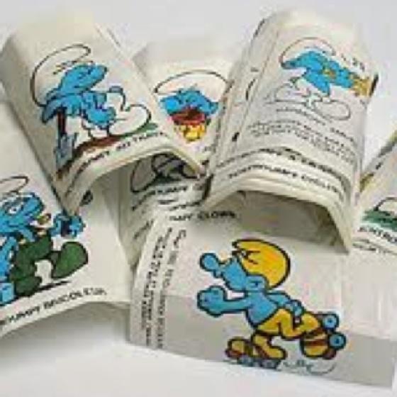 Smurfen kauwgom en plaatjes