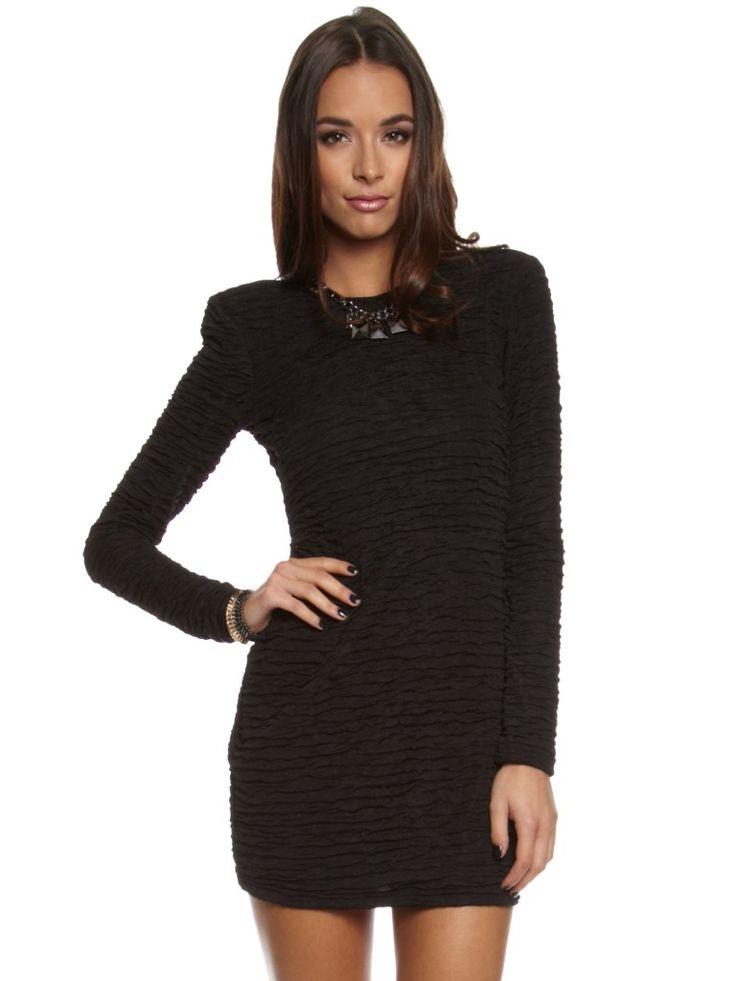 Drape Long Sleeves Mini Black Dress