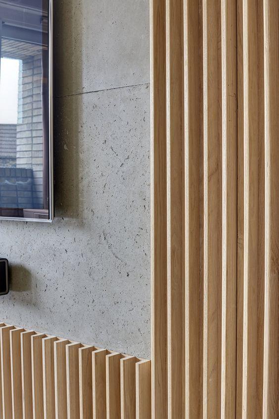 Wooden slats, raw concrete