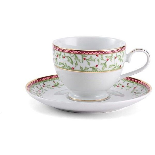 Holiday Traditions Teacup and Saucer Set ($15) ❤ liked on Polyvore featuring home, kitchen & dining, drinkware, porcelain cup, porcelain tea cup and saucer, tea saucer, tea-cup and holiday cups