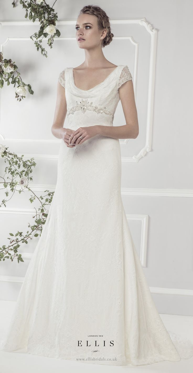 Ellis2017 Style 11417 Fine Lace Fluted Dress With Soft Drape Neckline And Exquisite Crystal