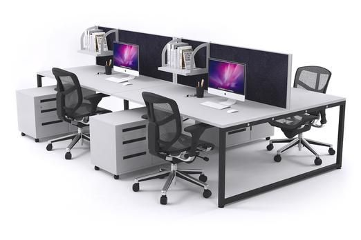 Litewall Evolve Modern Office Workstation Desk for 4 People. The full-length, noise-cancelling screen stretches across still maintaining the simple, minimalist look and flexibility of individual personalization. The sturdy, black legs can be complemented with your choice of a white, wenge, and maple desktop to fit all of your office design needs. The simplicity allows plenty of foot room to add storage addition and keep your desktop neat and tidy.