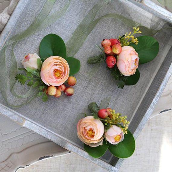 Corsage boutonniere with peach silk flower ranunculus jordon corsage boutonniere with peach silk flower ranunculus jordon mightylinksfo