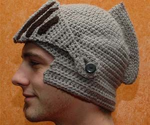 Look down right chivalrous while staying warm and cozy with this crocheted knight helmet hat. With its thick padded armor and functional moving visor, the...