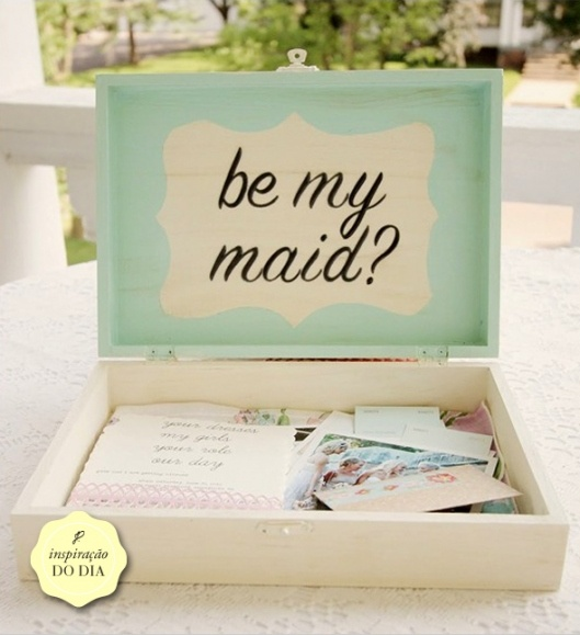 bridesmaid invitation boxes with wedding info, paint swatches to show the wedding colors, matching nail polish and scarf, inspiration photos for the look and feel of the wedding day, the bridesmaids' earrings, and a handwritten note asking them to be in the wedding. So cute and special <3