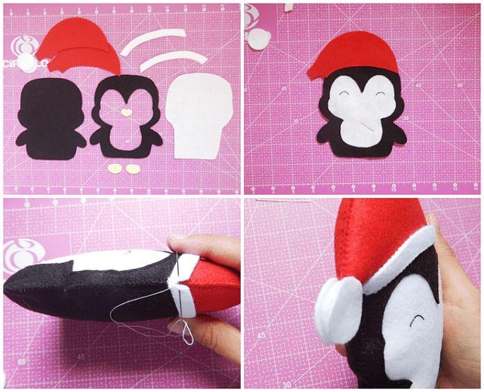 Pingüino navideño de fieltro - Dale Detalles