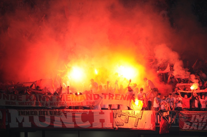 Bayern Munich fans with flares