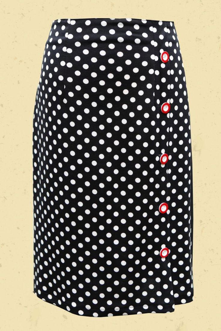 High waist stippen rok met tricot achterkant