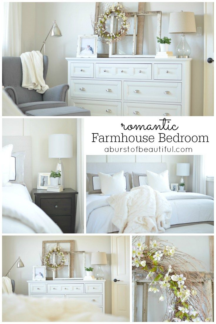 Panel wall in Albescent OC 40.  Benjamin Moore.  The rest of the walls got a coat of Balboa Mist by Benjamin Moore. Romantic Farmhouse Bedroom - A Burst of Beautiful