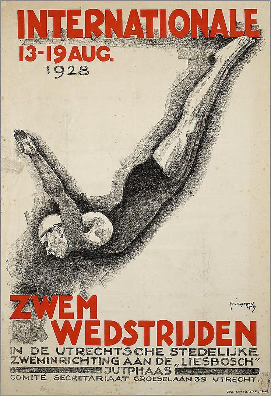 Internationale Zwemwedstrijden in de Utrechtse Stedelijke Zweminrichting aan de Liesbosch Jutphaas.