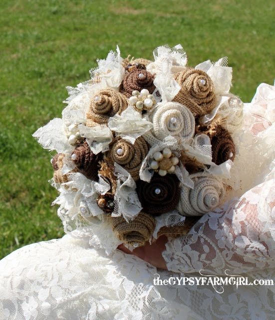 burlap and lace bouquet..good idea for an arrangement bc I won't be needing another bridal bouquet :)