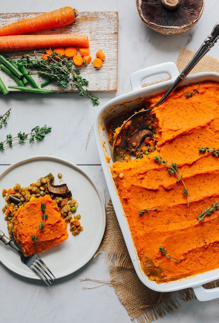 This colorful take on classic shepherd's pie is made with lentils, vegetables, and a fluffy sweet potato topping.