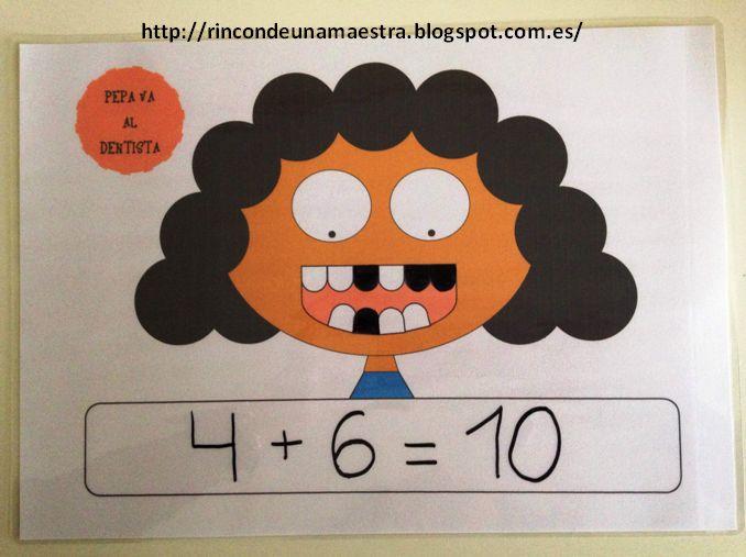"""Hoy os enseño un material para trabajar los amigos del 10 de forma muy gráfica:    """"Pepe y Pepa van al dentista""""     Pepe y Pepa tienen 10 d..."""