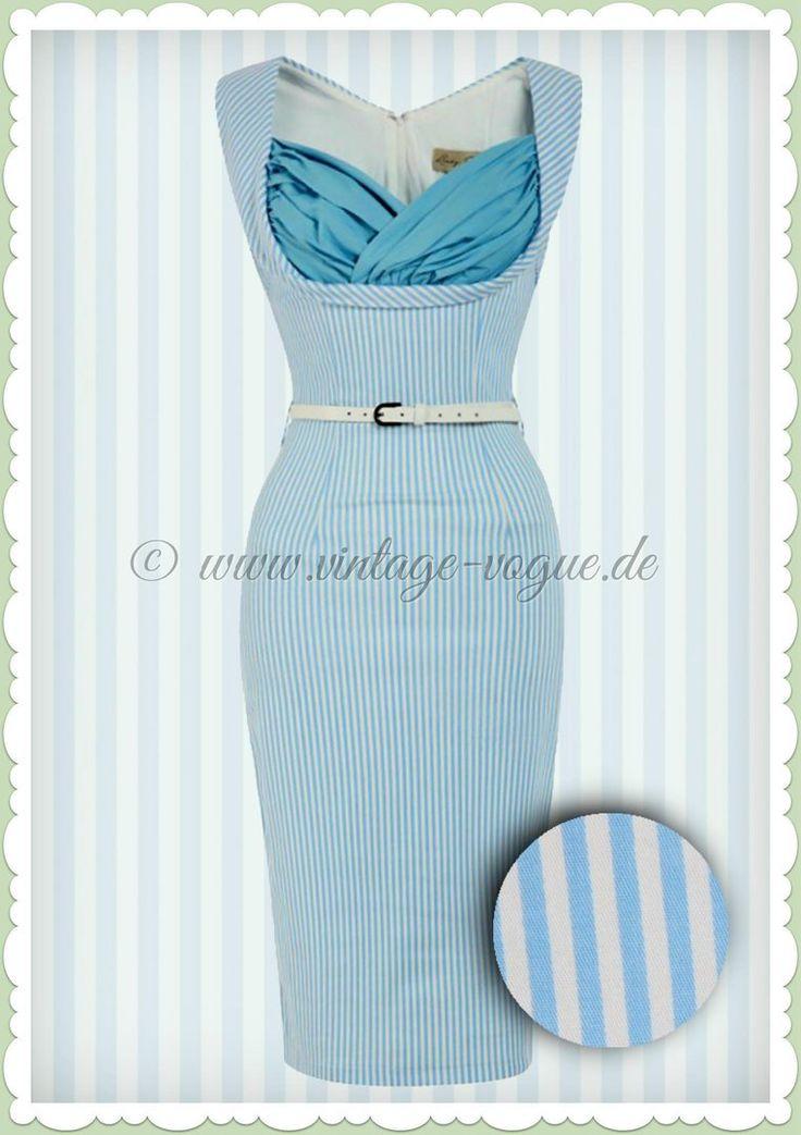 Lindy Bop 50er Jahre Rockabilly Etui Streifen Kleid - Vanessa Candy - Blau
