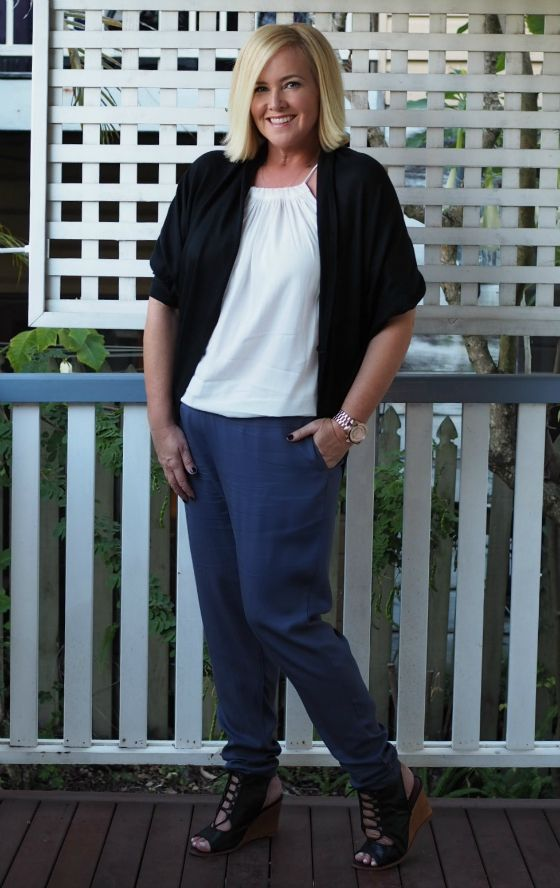Surafina shrug | top | pants | Zoe Kratzmann wedges