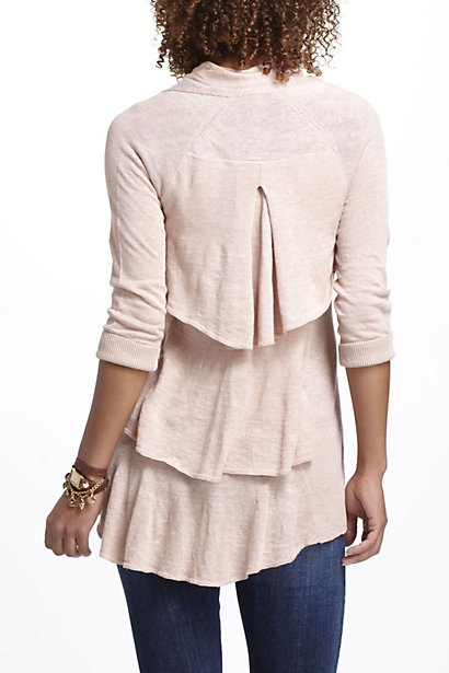 Pink Tiered Ruffles Open Cardigan Sweater cute with jeans and pearls