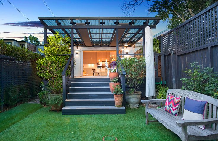 Private sunny garden, storage shed, Spacious covered deck, retractable blinds, classic home with designer interiors, 16 Mayes Street, Annandale, Pilcher Residential