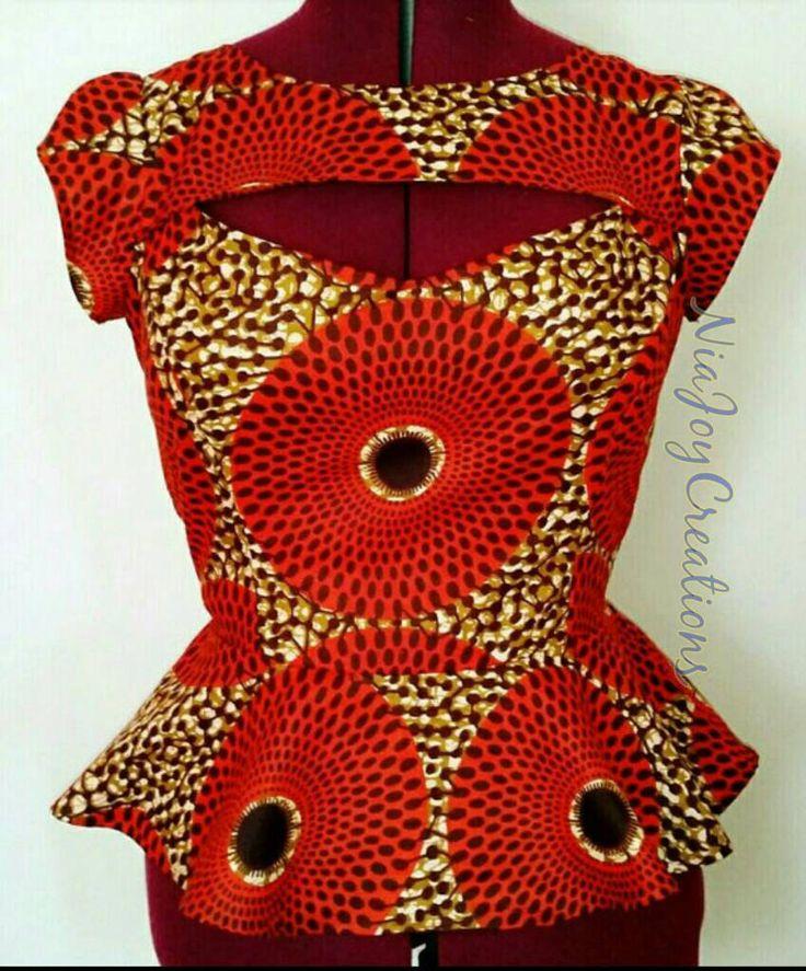 African Clothing: Fall African Print Peplum Top