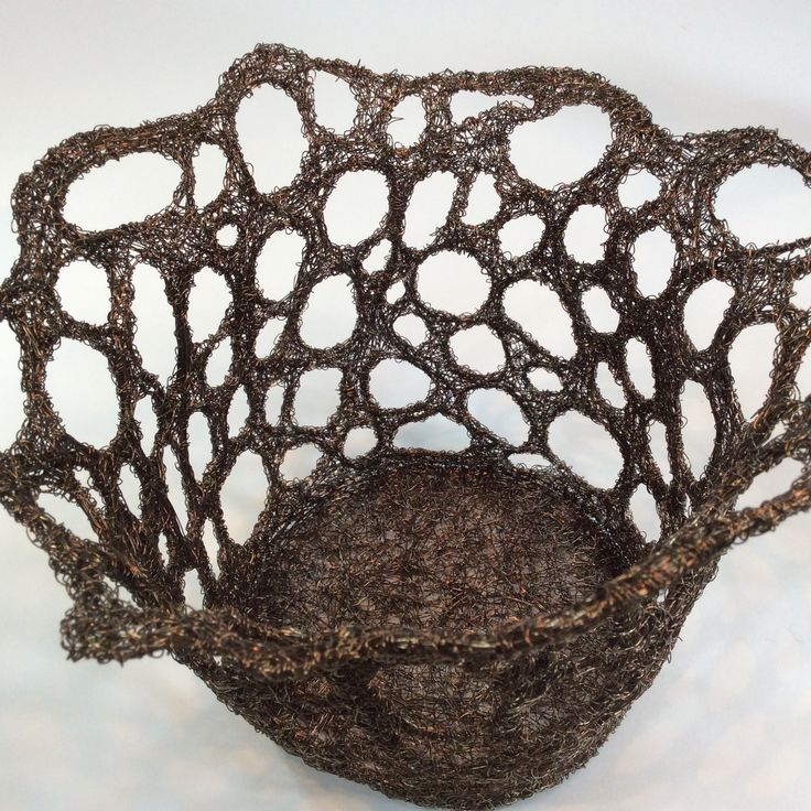 Woven coloured wire lace bowl