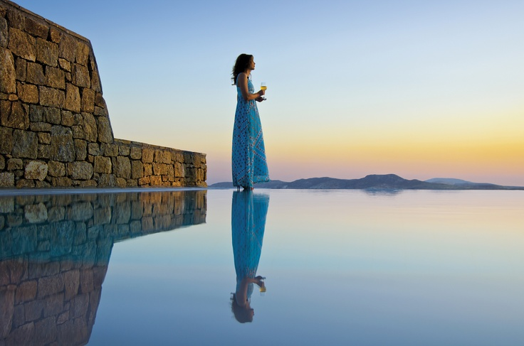 Enjoying the Mykonos Sunset by the private pool Suite - Mykonos Grand Hotel & Resort