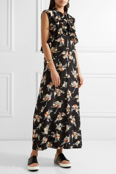 Marni - Ruffled Floral-print Silk Crepe De Chine Midi Dress - Black - IT36