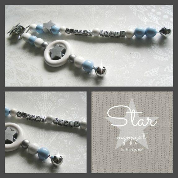 LykkeLiten STAR vognpynt sølv/lyseblå