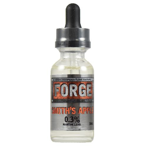 """Forge Vapor eLiquids Smith's Apple - Smith's Apple is a green apple profile with all the sensibilities that make it the choice of the true vapesmith. With a clean green apple flavor that never sours, it offers more sweetness at higher temperatures and shies away from the overly sweet """"hard candy"""" flavor that's just plain one dimensional.75% VG"""