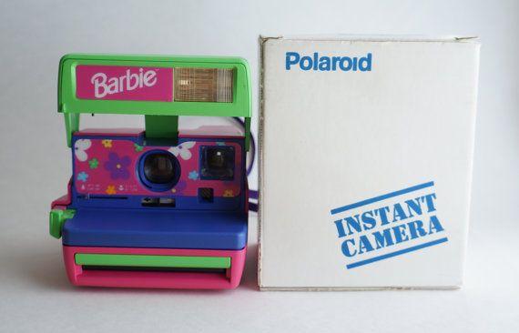 Vintage Barbie Working Polaroid 600 Film Camera / Pink, Purple, Flowers / Uses Impossible Project 600 Film