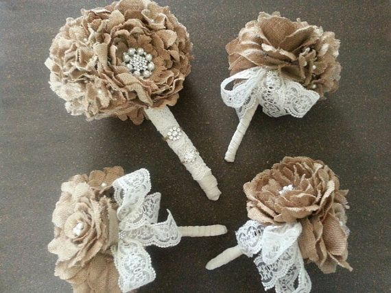 Hey, I found this really awesome Etsy listing at https://www.etsy.com/listing/195766849/burlap-flower-bridal-bouquet-rustic