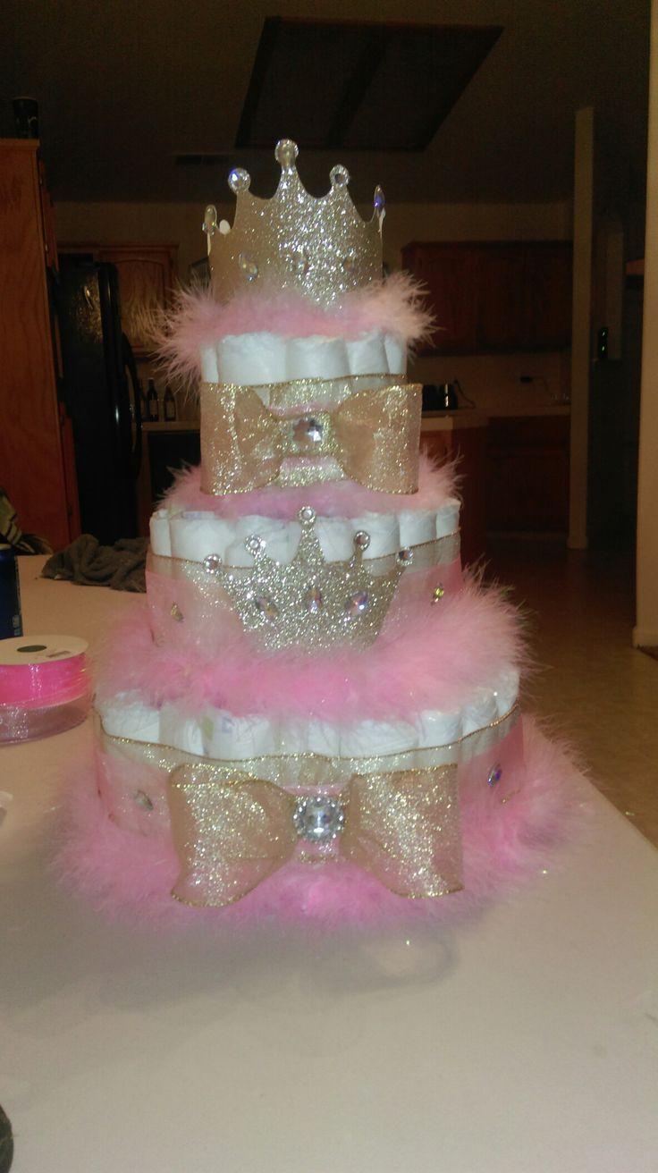 Diaper cake for a princess baby shower