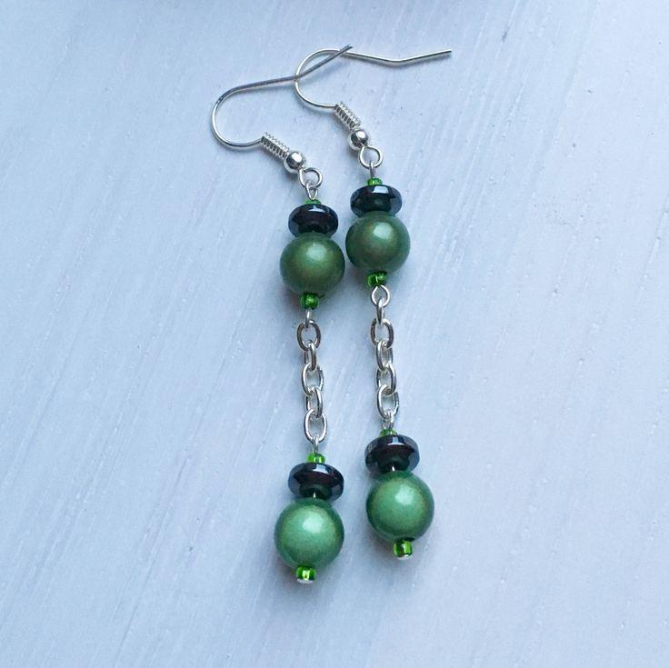 SALE, Green Drop Earrings, Sale Items, Cheap Jewelry, Gift For Her, On Sale, Long Clip On Earrings, Ready To Ship, Earrings Online, UK Shops by MadeByMissM on Etsy