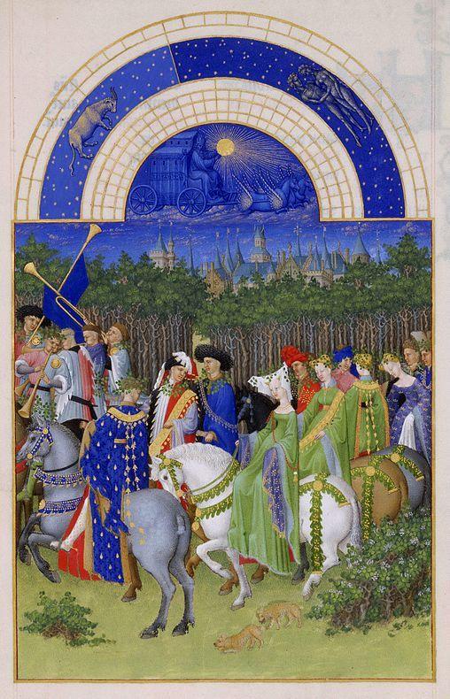 El mes de mayo. Página del Calendario del libro Las Muy Ricas Horas del Duque de Berry, de los hermanos Limbourg. 1411-1416, Museo Condé. Chantilly, Francia.