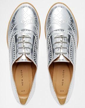 Enlarge New Look Komedian Silver Brogue Flat Shoes