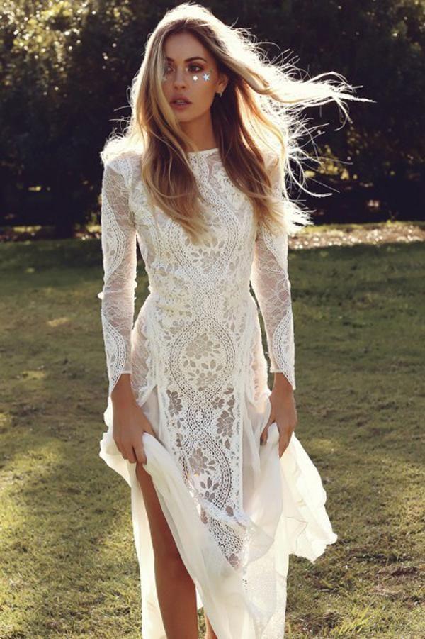 Ivory Sheath Brush Train Long Sleeve Backless Lace Wedding Dress Beach Wedding Dress PH476