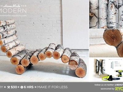 DIY Log Lounge chair for firepit area?  Would be nice to have something large enough to fit two people on for a summer night snuggle.