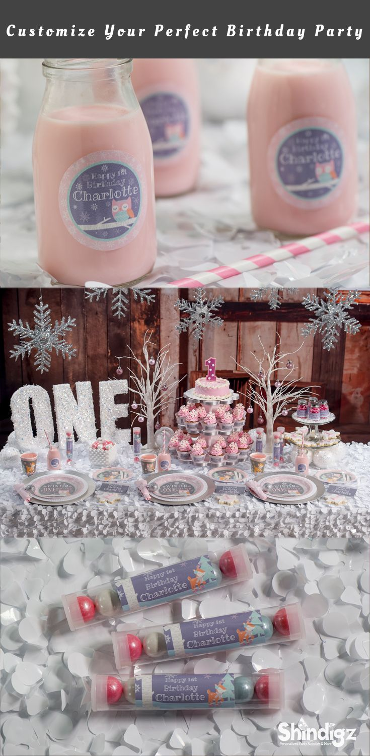 Celebrate your daughter's first birthday with our Pink Winter ONEderland Party Supplies! The Pink Winter ONEderland Party Supplies can be personalized with your child's name and even your favorite photos.