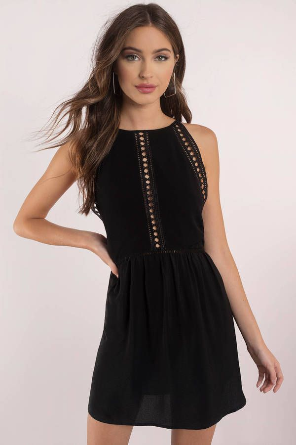 e323a35928 Everything s just better in the Black 90 s Baby Open Back Shift Dress. This  cute shift dress features a memorable diamond and ladder trim detail al…