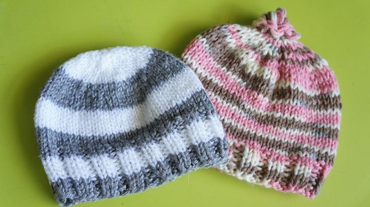 Ribbed Baby Beanie Knitting Pattern : 80 best images about Baby Hats - Knit Beanies Striped on Pinterest Knit bab...