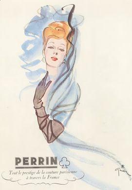 Ad. by René Gruau, 1944, Tout le prestige de la couture parisienne à travers la France, Perrin.