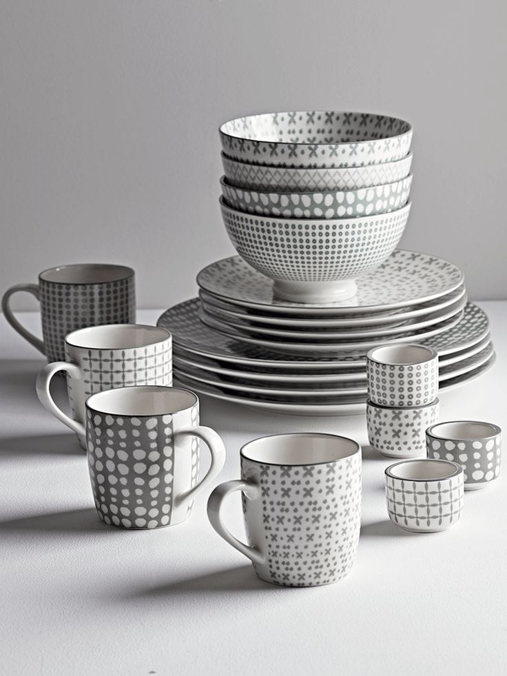 NEW Grey Folk Dinnerware